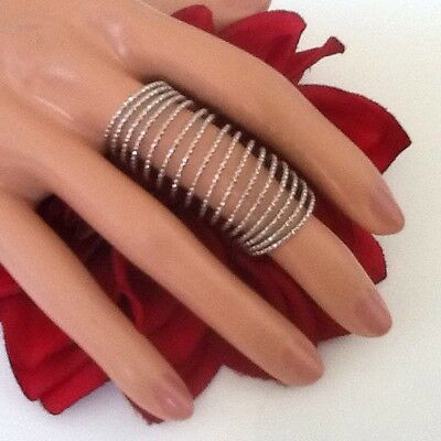NEW STYLE LONG FINGER RING TEXTURE TWISTED SPRING LAYER SILVER TONE METAL SIZE 7