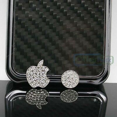 Crystals Deco Home Button Logo Sticker Bling For iPhone 5 5S 4S Touch 5 Silver