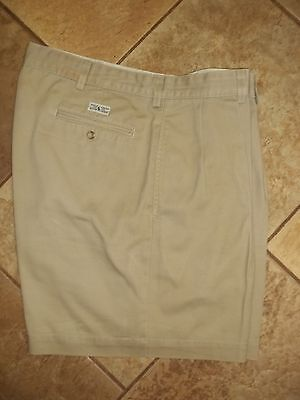 "Polo Ralph Lauren ""Andrew"" Khaki Reverse Pleated Chino Shorts Mens 36 X 6"" USA"