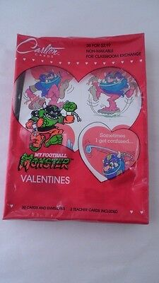 MIB NOS Carlton Cards 1988 My Pet Monster Sports Football 30 Valentines Cards