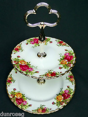 OLD COUNTRY ROSES 2-TIER CAKE STAND, 1st QUALITY, 1962-73, ENGLAND, ROYAL ALBERT