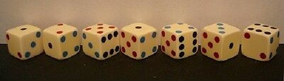 7 Real Loaded/Weighted Vintage Dice-Tri Colored Flush Spots-Highly Collectible