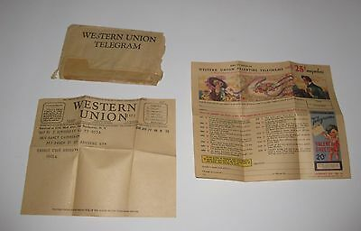 1938 WESTERN UNION TELEGRAPH with ORIGINAL Letter and Advertisement
