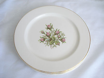 Set of Four Charming Vintage Knowles MOSS ROSE Dinner Plates Gold Trim
