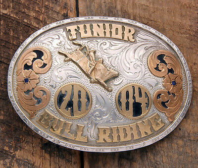 NEAR MINT! Bull Riding Rodeo Champion Trophy Buckle--Native American Made!