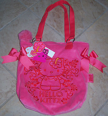 Hello Kitty Stitched Velour Purse w/ Keychain & Bows - Pink or Blue NWT MSRP $30