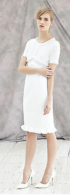 REISS 16 WHITE DEIS SHIFT DRESS RRP £169 CHIC OCCASION BNWT LACE FRILL WEDDING