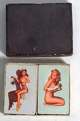 M564 VINTAGE Set of 2 MAC THERSON PIN-UP GIRL Playing Cards 52 Card Decks 1940s~