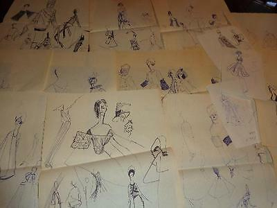 Lot 17 Vintage 1960s 1970s Original Hand Drawn Fashion Clothing Sketches Drawing