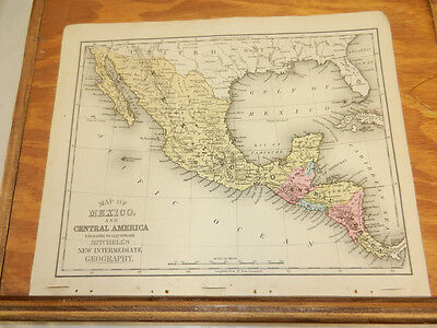 1876 Mitchell Antique COLOR Map///MEXICO and CENTRAL AMERICA