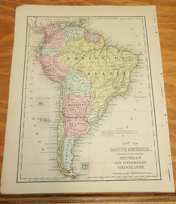 1876 Mitchell Antique COLOR Map///SOUTH AMERICA