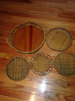 5 RATTAN AND WIRE ROUND SERVING TRAYS/BASKETS PRINCESS HOUSE?