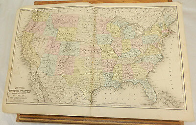 1876 Mitchell Antique COLOR Map//OREGON,KANSAS,CALIFORNIA, and WEST. TERRITORIES