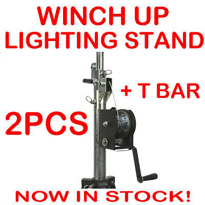 2 x Pro Winch Up Lighting Tripod Stage Studio Light Speaker Truss Stand + T Bar