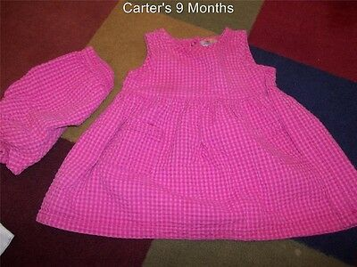 9-12M Vintage Carter's Pink Cotton Tank Dress & Bloomers/Diaper Cover Set Outfit