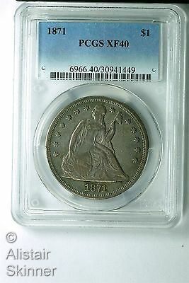 1871 With Motto Seated Liberty Dollar PCGS XF40