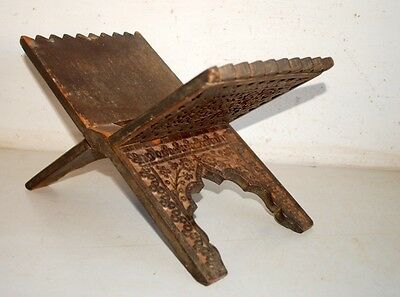 1890's Indian Antique Old Rare Wooden Hand Carved Floral Holy Book Stand