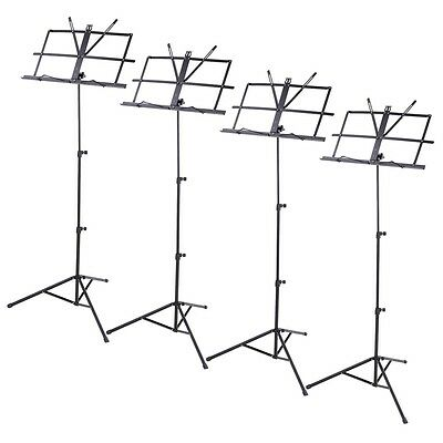 4 Pack Folding Sheet Music Stand Score Note Holder Mount Tripod Carrying Gig Bag