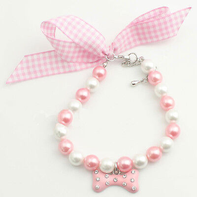 New Charming Pets Dog Pearls Necklace Collar With Rhinestones Bone Dog Decor L