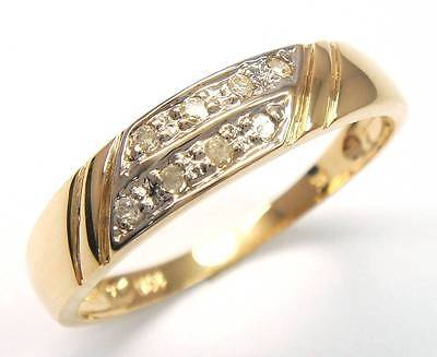 NICE 10KT SOLID YELLOW GOLD 8 DIAMONDS BAND RING SIZE 7     R1253