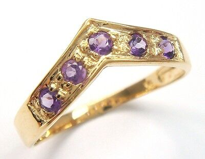 PRETTY 10KT YELLOW GOLD ROUND NATURAL AMETHYST RING SIZE 7   R1186