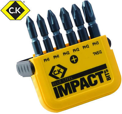 "CK Blue Steel 6 Pce 50mm Phillips PH Impact Rated 1/4"" Screwdriver Bits T4512"