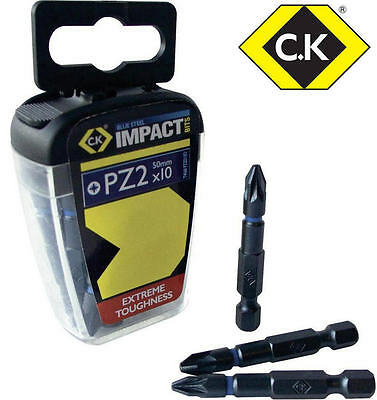 "CK Blue Steel 10 Pack 50mm POZI 2 PZ2 Impact Driver Rated 1/4"" Screwdriver Bits"