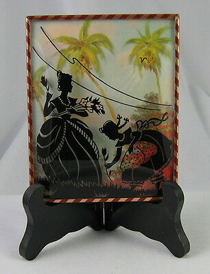 VINTAGE SILHOUETTE BUBBLE GLASS PICTURE FRAME VICTORIAN HARLEQUIN DANCERS 6 x 8