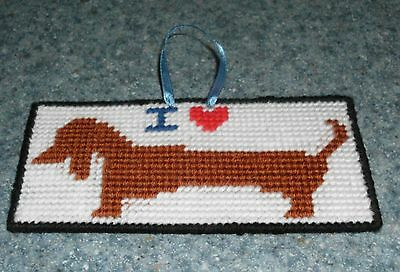 Brand New Handmade Needlepoint I Love DACHSHUND Sign For Dog Rescue Charity