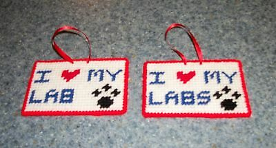 Brand New Handmade Needlepoint Sign I Love My LAB LABS For Dog Rescue Charity