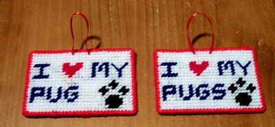 Brand New Handmade Needlepoint I Love My PUG PUGS Sign For Dog Rescue Charity