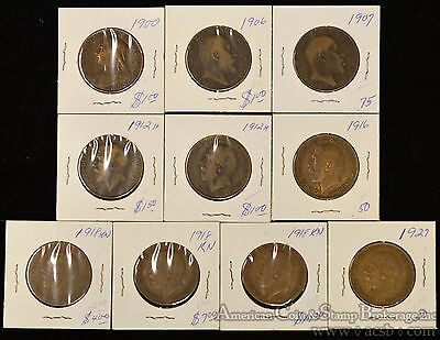 Great Britain 1d Penny 1900-1927 copper Lot 10 coins Edward George IV Victoria.