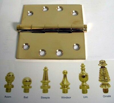 old style decorative tip door hinges brass 4 x 4 inches