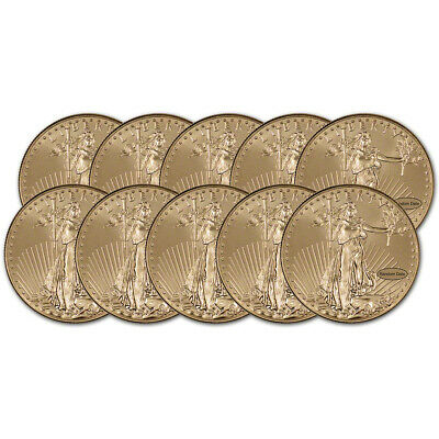 American Gold Eagle (1 oz) $50 - BU - Random Date - Ten (10) Coins