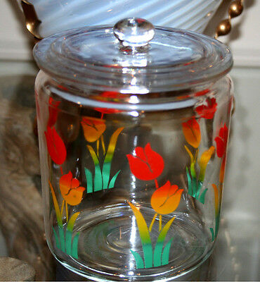 """VINTAGE TULIP COVERED CANISTER JAR by FIRE KING RARE size 5 1/4"""" TALL"""