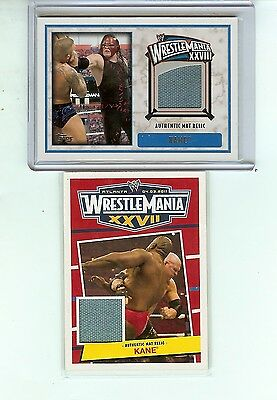 Kane WWE 2012 Topps Wrestlemania 28 and 27 mat relic lot of 2