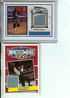 Booker T WWE 2012 Topps Wrestlemania 28 and 27 mat relic lot of 2