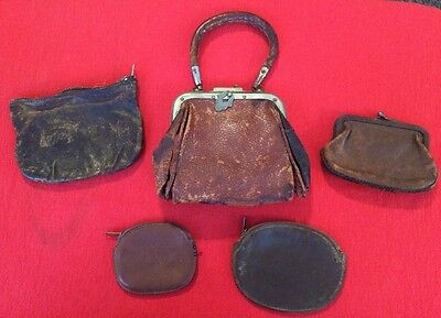 Lot of (5) Antique--Brown Leather Coin Purses--miser Bag--money holders