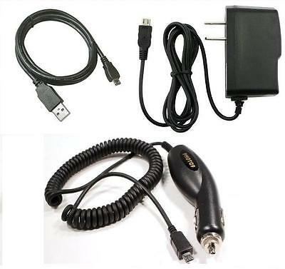 Car+Wall AC Charger+USB Cable for ATT Samsung Rugby 2 A847, Rugby 3 SGH-A997
