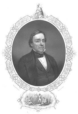 Michigan Senator Secretary of State War LEWIS CASS, Old 1856 Art Print Engraving