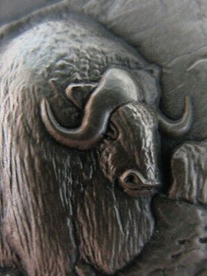 1-Oz .925 Longiens Sterling Silver Wildlife Series Detailed Musk Ox Coin + Gold