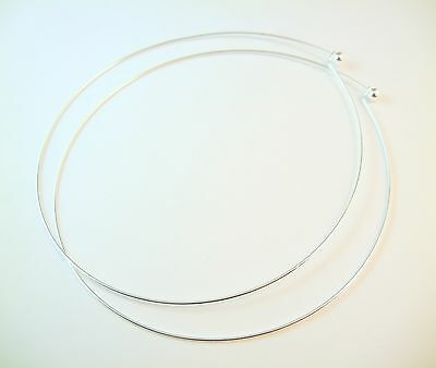 2pc 14cm Premium Silver Plated Brass Necklace Making Hoop Wire Component (JA060)
