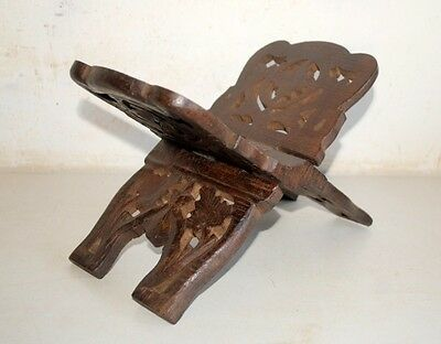 1890's Antique Old  Wooden Hand Carved Floral Islamic Quran Holy Book Stand