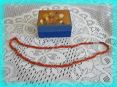 """Antique Vintage Coral necklace with """"box"""" which appears handpainted."""
