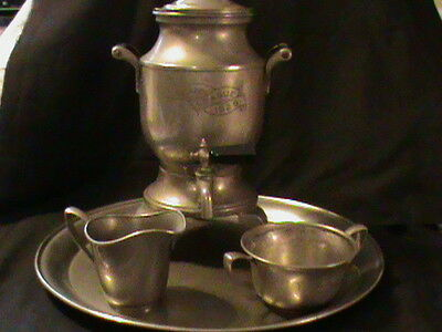 Vintage Pewter Electric Coffee Urn Creamer Sugar Bowl Tray gift collectible