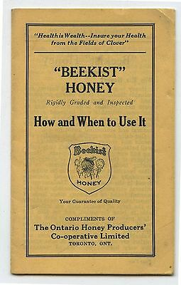 Old 1940's Beekist Honey Advertising Cook Book Brochure