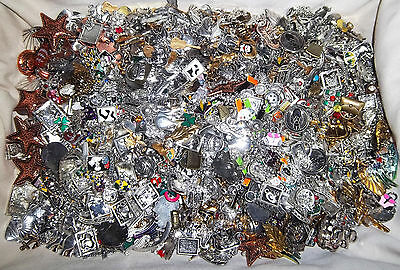 HUGE LOT OF CHARMS,SLIDERS,& MORE-MULTI-METAL OVER 7 POUNDS