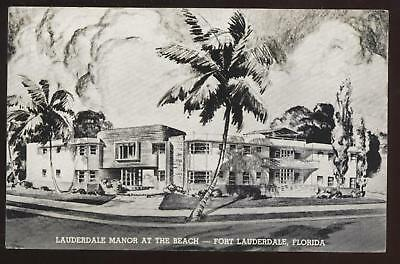 Postcard FORT LAUDERDALE FL Manor at the Beach 1940's?