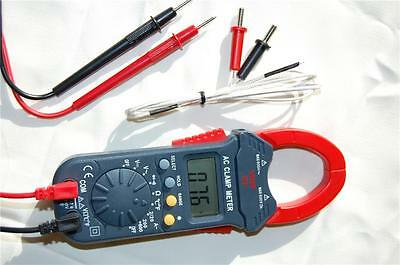 Digital Clamp Meter Ammeter Volt Ohm Amp Multimeter DMM+Type K Thermocouple HVAC
