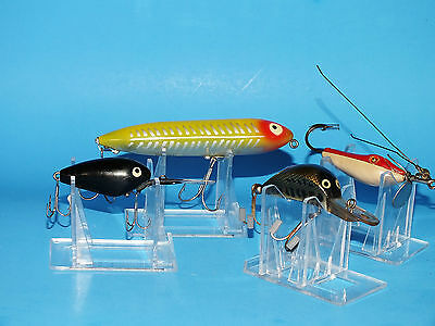 HEDDON LOT OF 4 VINTAGE PLASTIC FISHING LURES~GREAT MIX AND CONDITION !!